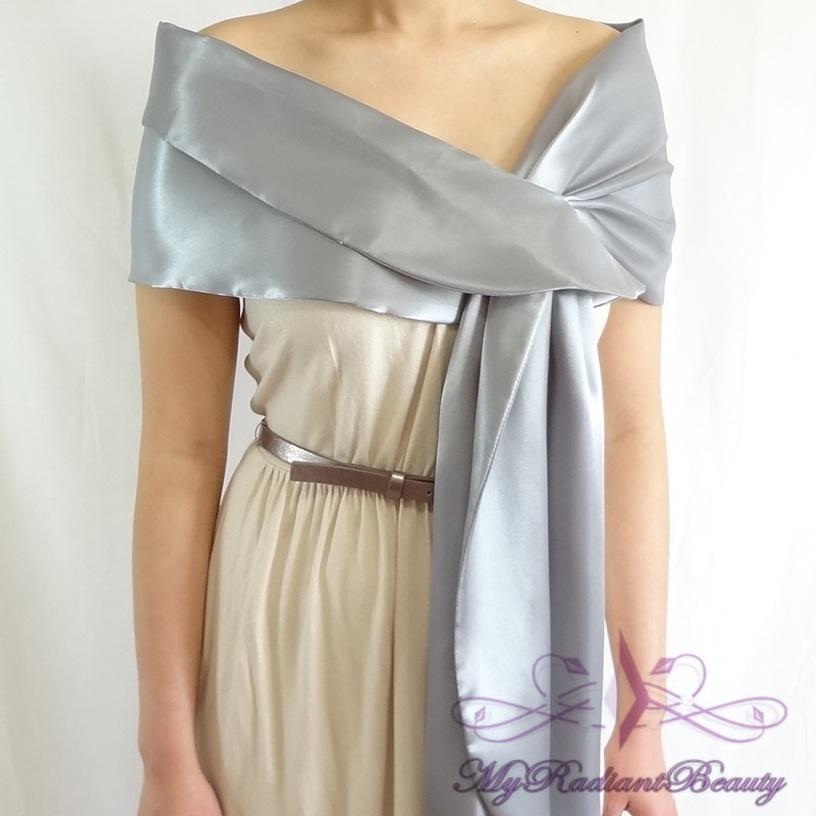 Bridal Silk Satin Wrap Grey Silk Satin Bridal Shawl Grey